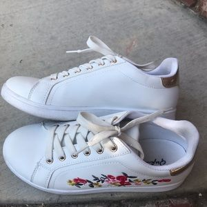White floral sneakers